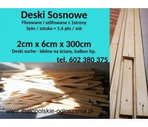 Deski SOSNOWE 2 cm x 6 cm x 300 cm