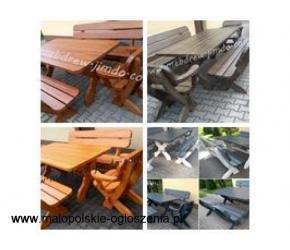 komplet ogrodowy stół + 2 ławy + 2 fotele stolarz meblowy