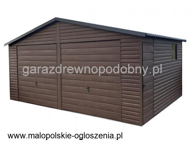 Garaż blaszany drewnopodobny 7x6