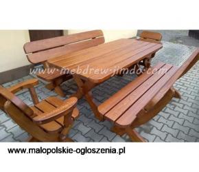 Stół ogrodowy drewniany+ 2 ławki 2 fotele