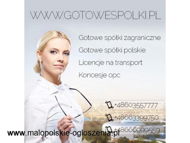 Gotowa Spółka w Holandii, w Belgii, w Anglii Słowacja, KONCESJA OPC, Niemcy, Czechy